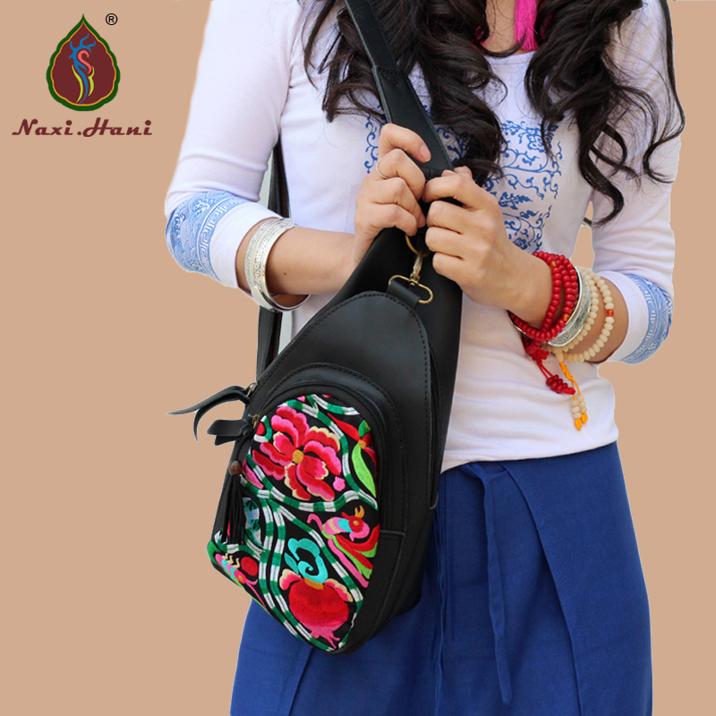 ФОТО Newest Naxi.Hani Brand original black Split Leather women Chest Bags Ethnic embroidery casual Travel shoulder bags