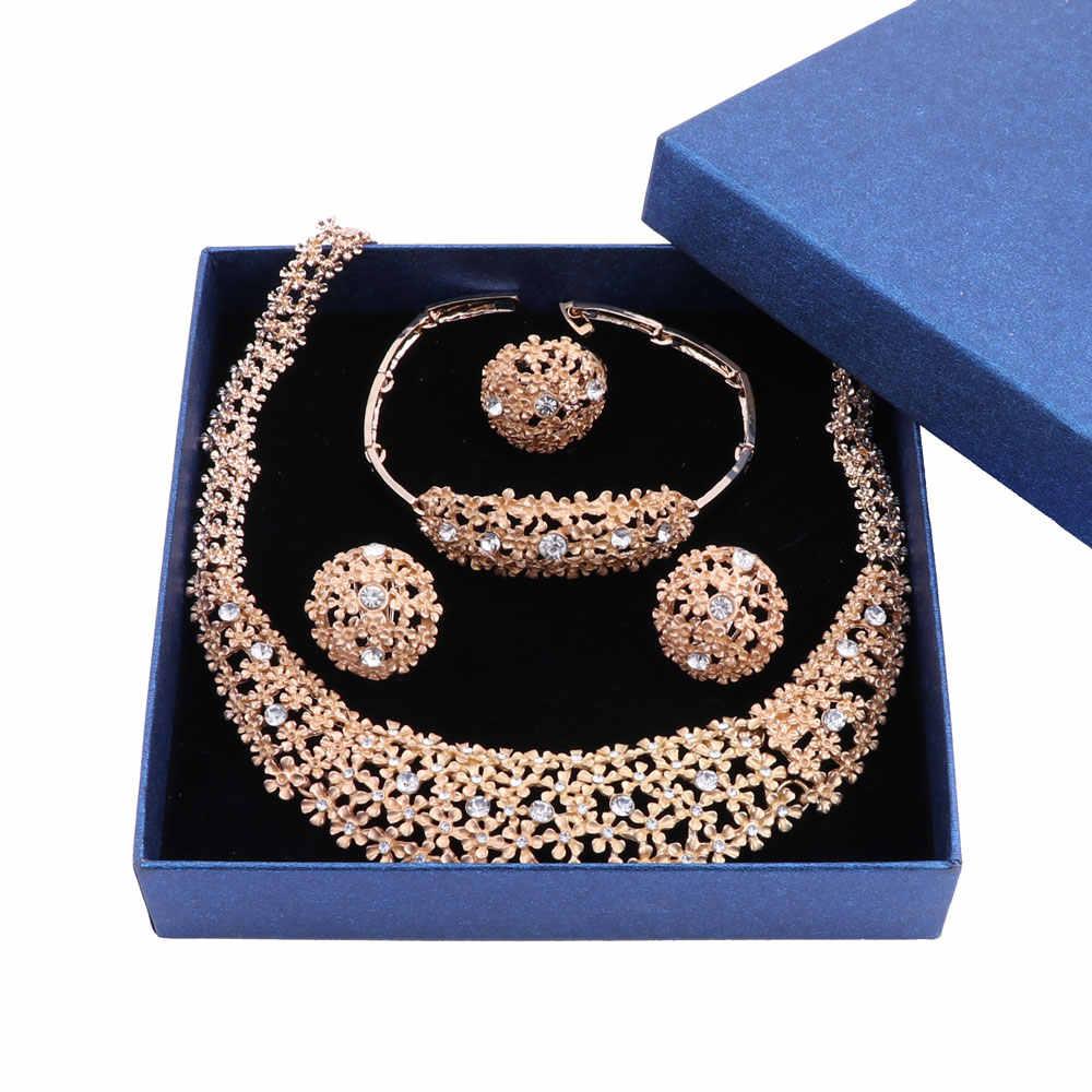 Новое поступление Дубай золото Цвет Цветок изящное ожерелье браслет, серьги, кольцо ювелирные изделия набор украшений для женщин