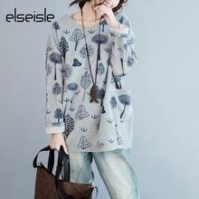 elseisle Women Hoodie Sweatshirt Harajuku Black Flower Brand Hoodies Long Sleeve Large Size Sweatshirts Japanese Hoodie Female