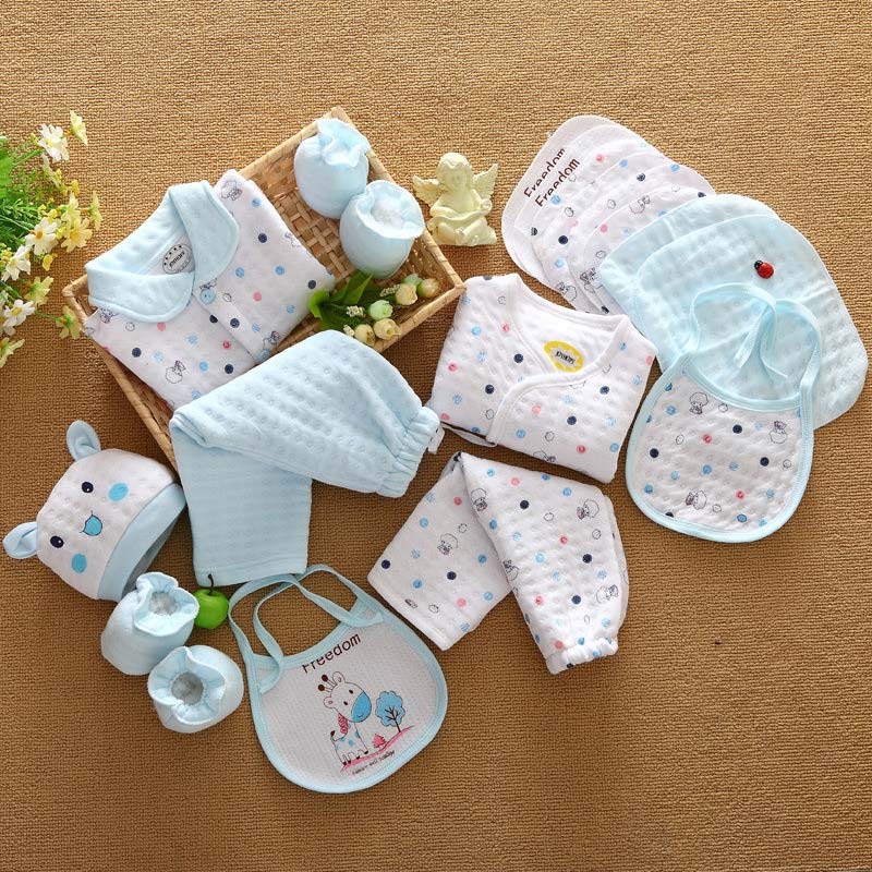 Image 4 - 18 piece newborn baby set boy clothes 100% cotton infant suit baby girl clothes outfits pants baby clothing hat bib ropa de bebe-in Clothing Sets from Mother & Kids