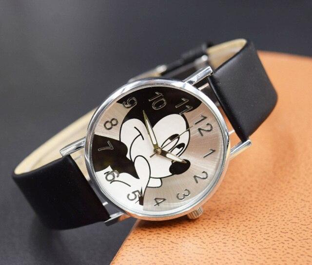 Fashion Watches Cute cartoon quartz wristwatch children leather watch Mickey wat