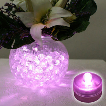 Free shipping Sale Pink Color Submersible Led Floralyte for Cake Party Decoration Battery Operated Underwater Candle Lights