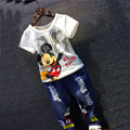 2017 Verão Nova Meninos Mickey Conjunto de Roupas Crianças Dos Desenhos Animados de algodão de manga curta T-shirt + calça jeans 2 pcs. Crianças Vestuário terno