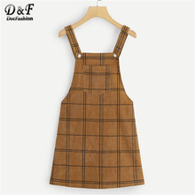 5ac1a9f0879 Dotfashion Brown Bib Pocket Front Grid Corduroy Overall Dress Women Clothes  2019 New Arrival Autumn Casual