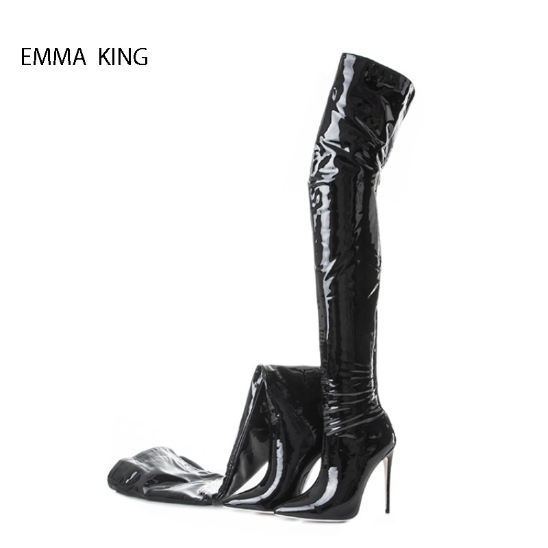 2018 New Autumn Winter High Tube Stretch Over The Knee Boots Women Nightclub High Heels Slim Pointy Toe Thigh High Botas Mujer2018 New Autumn Winter High Tube Stretch Over The Knee Boots Women Nightclub High Heels Slim Pointy Toe Thigh High Botas Mujer