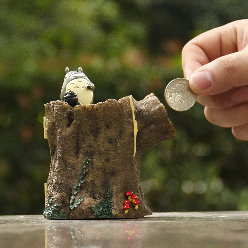 New My Neighbor Totoro Stump of Rubber Fruit Totoro Resin Version Piggy Bank Figures Toys Model for Children Gifts