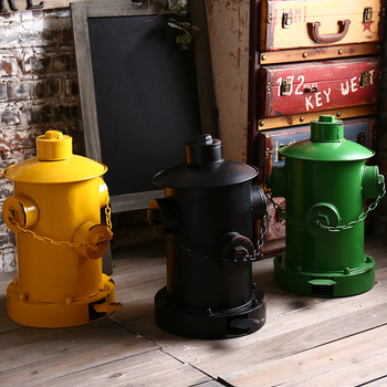Europe Retro Home Decor Wastebasket Dustbin Garbage Bin Creative Tin Fire Hydrant Pedal Trash Can Bar Cafe Decoration