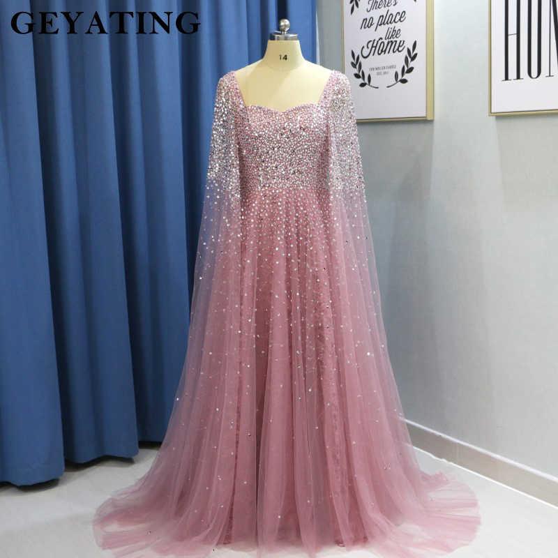 e61e8fbb0c1 Dubai Women Evening Dresses Plus Size 2019 Luxury Pink Beaded Crystal  Arabic Prom Dress with Cape