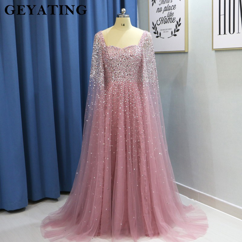 Dubai Women   Evening     Dresses   Plus Size 2019 Luxury Pink Beaded Crystal Arabic Prom   Dress   with Cape Champagne Green Formal Gowns