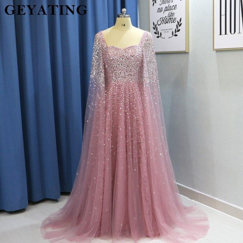 Dubai femmes robes de grande taille de soirée 2019 luxe rose perlé cristal arabe robe de bal avec Cape Champagne vert robes formelles