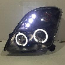 Для Suzuki Swift светодиодный ангельские глазки головная лампа 2005 до 2013 лет с линзы проектора bi xenon черный цвет