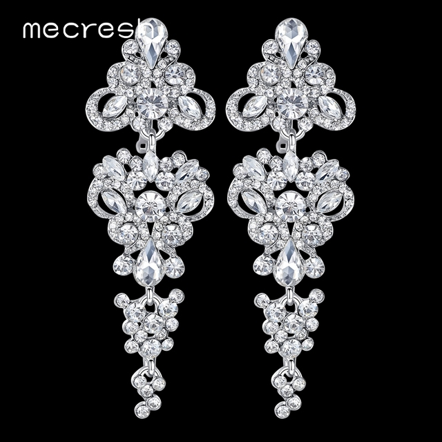 Mecresh Gorgeous Chandelier Wedding Long Earrings For Women Silver Color Crystal Bridesmaid Drop Prom Jewelry