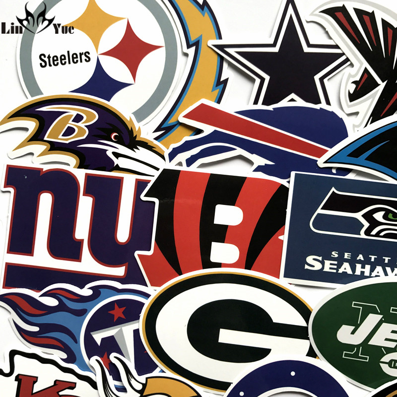 32pcs NFL American Football Rugby Stickers Steelers Skateboard Decal Notebook Suitcase Car PVC Waterproof Sticker