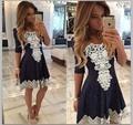 8082 # пятно 2015 новый оригинальный оптовая Европейский стиль кружевной воротник V половина рукава платья