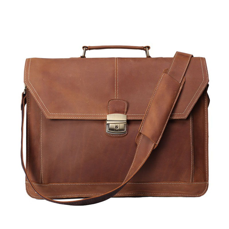 ROCKCOW Håndlaget Vintage Leather koffert Menn Messenger Bag Laptop - Stresskofferter - Bilde 1