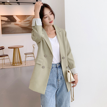 Casual Double Breasted Notched Collar Blazer
