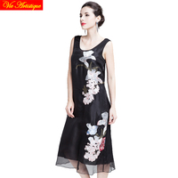 women's silk render skater dress sleeveless office floral dresses large plus size black white embroidery loose fit 2018 summer