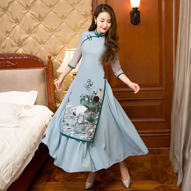 New Arrival Chinese Women s Silk Qipao Elegant Print Long Cheongsam Vintage  Flower Sexy Dress Plus Size S M L XL XXL XXXL 0cbe2b0cb5b1
