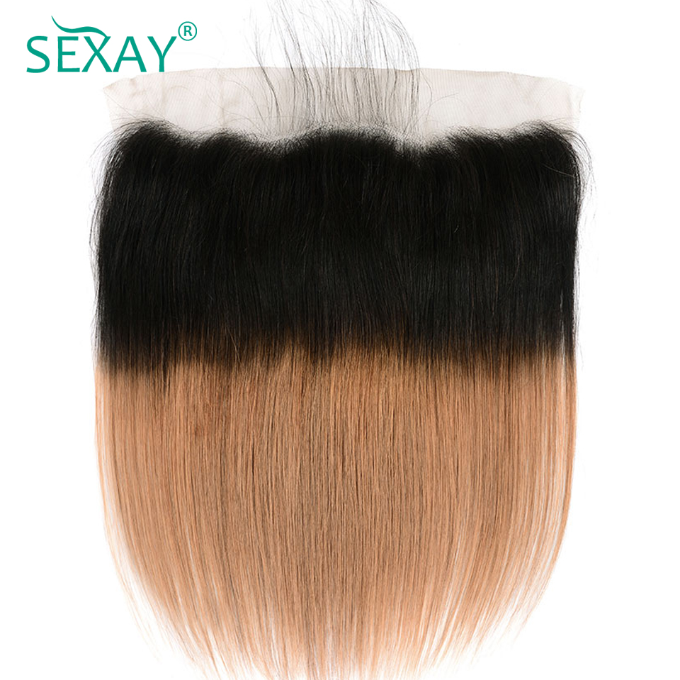 1B/30 Blonde Lace Frontal With Baby Hair SEXAY Ombre Brazilian Non Remy Hair Straight Dark Roots Ombre Human Hair Lace Frontals