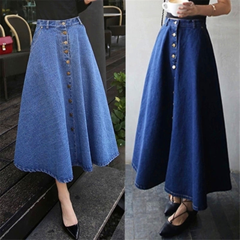 62983d773 Fashion Winter Long Skirt Women Casual Denim Skirt Women's Clothing College  Style High Waist A Line Umbrella Maxi Skirt C1365-in Skirts from Women's ...