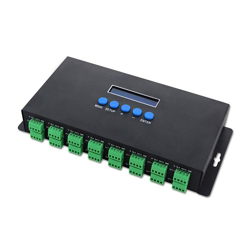 DC5-24V 3AX16CH 2 DMX512Ouptut Ethernet-SPI LED Pixel DMX contrôleur soutien IC 2811/2801/6803/TM1814/SK6812 pour LED bande lumineuse