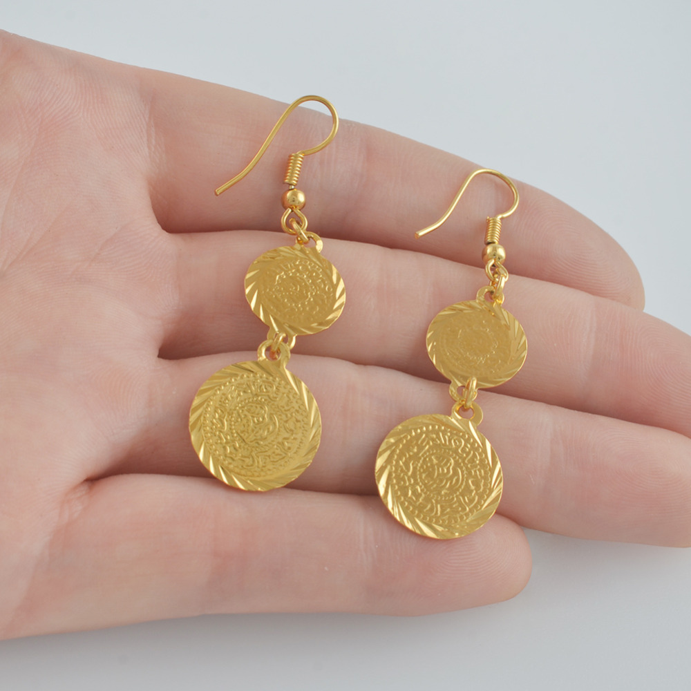 Image 2 - Anniyo Arab coins earring for women gold color islam middle 