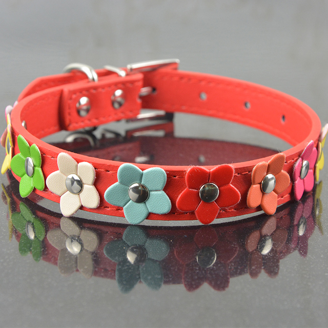 New Fashion PU Leather Dog Collar One Row Sun Flower Studded Small Dog Pet Teddy Necklace Collar 5