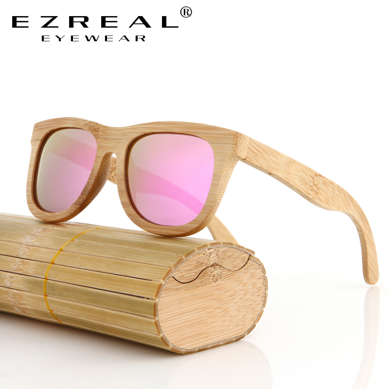 EZREAL Bamboo Sunglasses Men Wooden Sunglasses polarized Brand Designer Mirror Original Wood Sun Glasses Oculos zonnebril