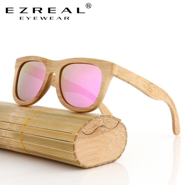 EZREAL Bamboo Sunglasses Men Wooden Sunglasses polarized Brand Designer Mirror Original Wood Sun Glasses Oculos zonnebril