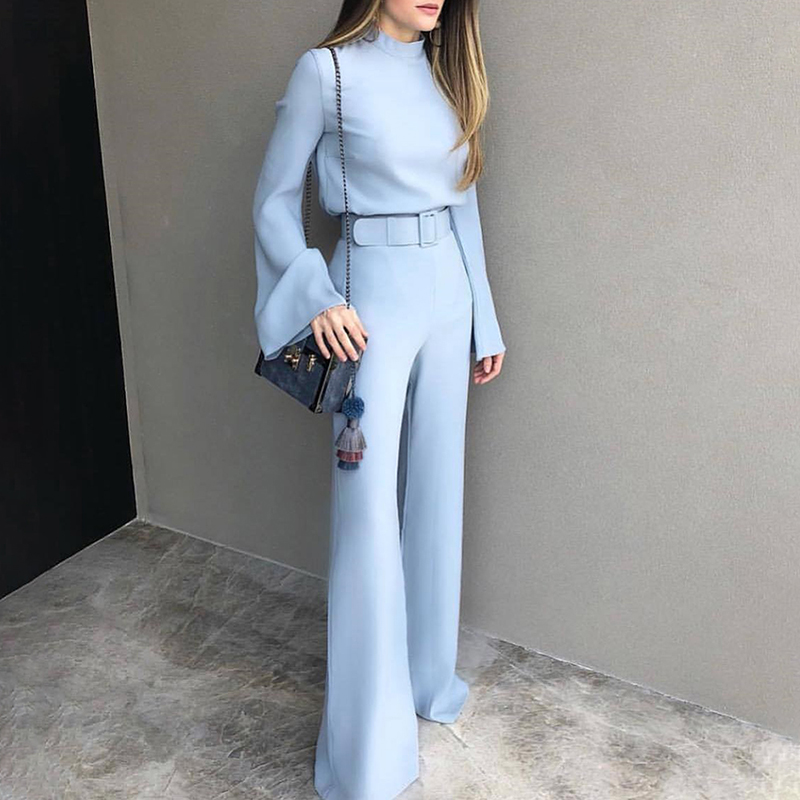 2020 Spring Women Fashion Elegant Office Workwear Casual Jumpsuits High Neck Bell Sleeve Wide Leg Romper With Belt