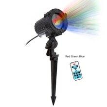 Рождественские огни лазерных Звезда проектор Открытый украшения сада Водонепроницаемый IP65 красный зеленый синий дождя Газон лампа статического на Рождество