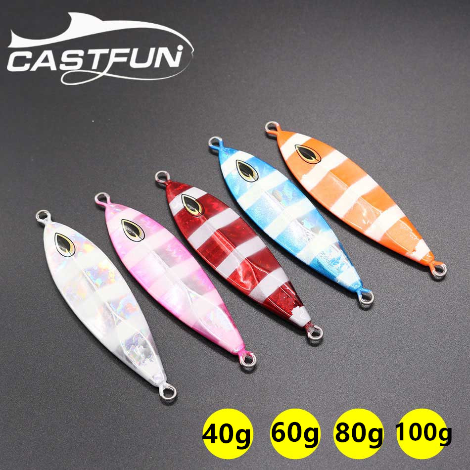 Slow Jig Luminous Zebra Jigging Lure 1pc 40g 60g 80g 100g Metal Jig For Saltwater Slow Pitch Jig castfun slow jig spoon lure lead lure saltwater fishing lure metal jig 1pc 60g 80g 100g
