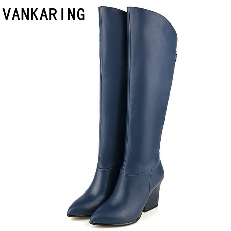 VANKARING Women s winter shoes genuine leather PU autumn winter boots brand women black blue shoes