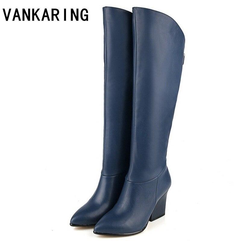 VANKARING/женская зимняя обувь из натуральной кожи и искусственной кожи, осенне зимние сапоги, Брендовая женская обувь черного и синего цвета, Сапоги До Колена высокого качества|Сапоги до колена|   | АлиЭкспресс