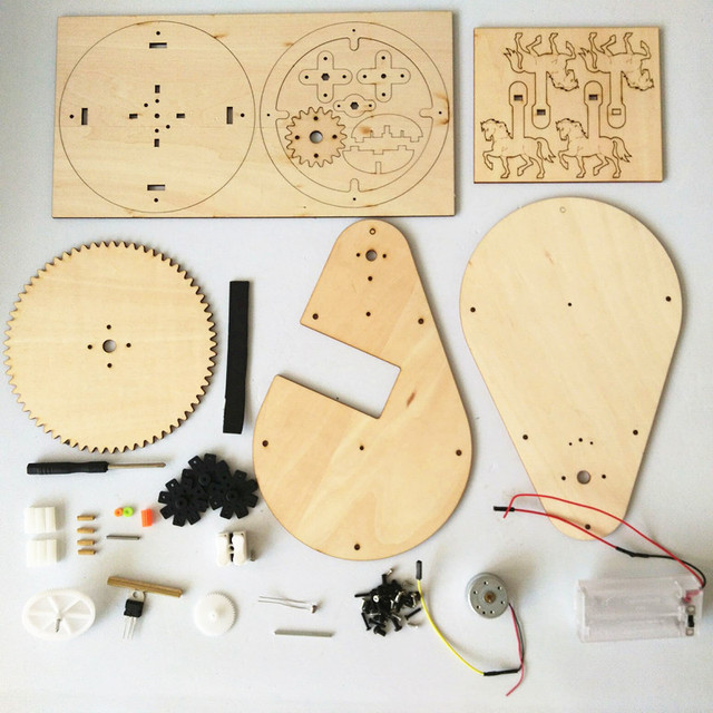 Happyxuan-DIY-Voice-Control-Wood-Carousel-Horse-Kids-Inventions-Science-Toys-School-Projects-Kits-Educational-STEM
