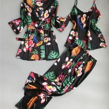 ZOOLIM Spring Women 3 Pieces Silk Pajamas Sets with Pants Flower Print Spaghetti Strap Pyjama Satin