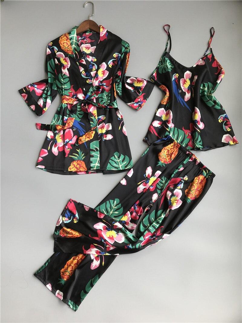ZOOLIM Spring Women 3 Pieces Silk   Pajamas     Sets   with Pants Flower Print Spaghetti Strap Pyjama Satin Elegant Sexy Homewear Pijama