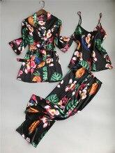 ZOOLIM bahar kadınlar 3 adet ipek Pijama setleri pantolon ile çiçek baskı spagetti kayışı Pijama saten zarif seksi gecelik Pijama