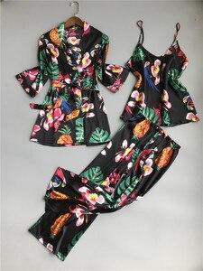 Image 1 - ZOOLIM bahar kadınlar 3 adet ipek Pijama setleri pantolon ile çiçek baskı spagetti kayışı Pijama saten zarif seksi gecelik Pijama