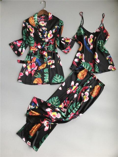 ZOOLIM primavera mujer 3 piezas pijamas de seda conjuntos con pantalones estampado de flores espagueti Correa Pijama satén elegante sensual ropa de casa Pijama
