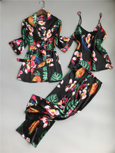 ZOOLIM printemps femmes 3 pièces soie pyjamas ensembles avec pantalon fleur imprimé Spaghetti sangle Pyjama Satin élégant Sexy Homewear Pijama