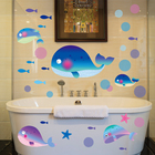 Small Fish and Big Whale Wall Stickers Creative DIY Animal Home Decor Sticker for Kids Rooms Bathroom Tile Decorative Stickers
