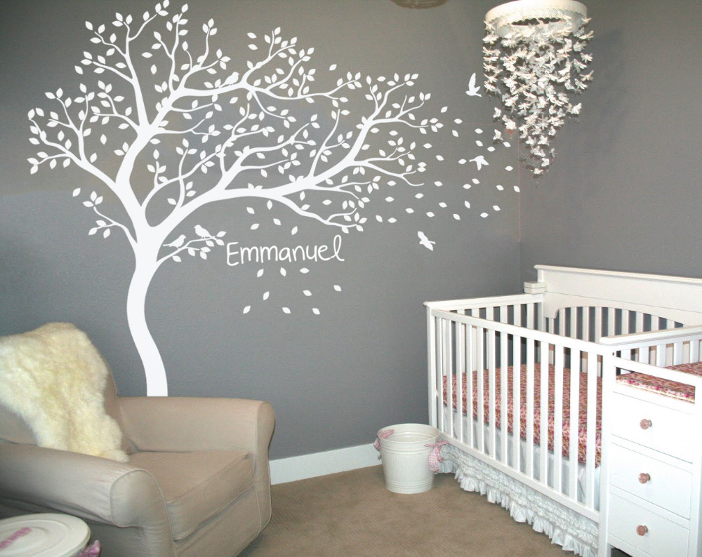 Personalized Name Large White Tree Wall Decals Flying Birds Falling Leaves Stickers For Kids Room Baby Nursery Jw218 In From Home