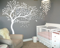 Personalized Name Large White Tree Wall Decals Flying Birds Falling Leaves Tree Wall Stickers For Kids Room Baby Nursery JW218