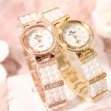 Quartz Movement Ladies Pearl Chain Watch Full Pearl Mother-Of-Pearl Bracelet Round Rhinestone Dial Watch цена