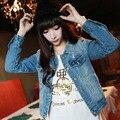 Новые Корейские студенты весна размер отверстия тонкий короткими рукавами джинсовой куртке свободный женщины все матч оптовая