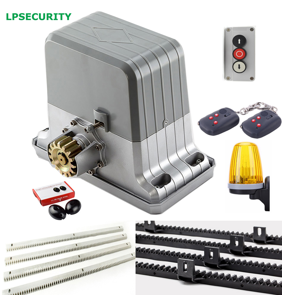 LPSECURITY heavy duty 1800kgs sliding gate motor operator with 4m 5m 6m gear racks 1 infrared photocells 1 flashing lamp heavy duty 1800kg automatic sliding gate motor for gate drive with infrared sensor alarm lamp and loop detector
