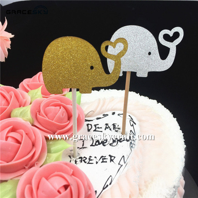 20pcs Free Shipping Glitter Paper Calf Elephant Birthday Cake