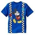 Azul Com Mickey Bebê Dos Desenhos Animados T-shirt roupas Menino 1-6years Infantil Tops Crianças Roupas de Verão Curto T Camisas