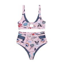 Women Sexy Two Piece Bikini Set Bohemian Vintage Floral Printed Swimsuit Hollow Out Color Block Reversible High Waisted Thickene